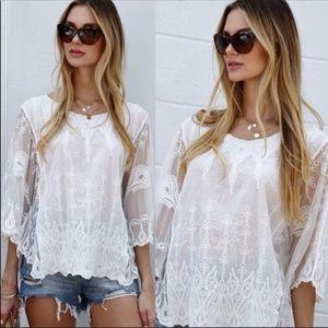 💃🏻Grace Boho top Embroidery Boho Poncho White